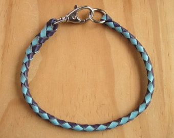 Design Your Own - Braided Kangaroo Leather Dog Tag Collar -  Made to Order
