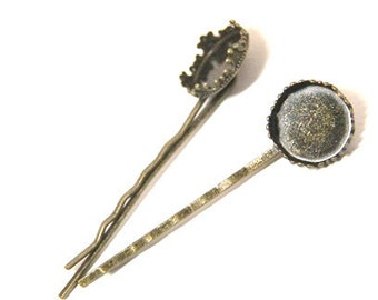 12 Pcs of hair bobby pin for 15mm cameo-M6012-Antique bronze