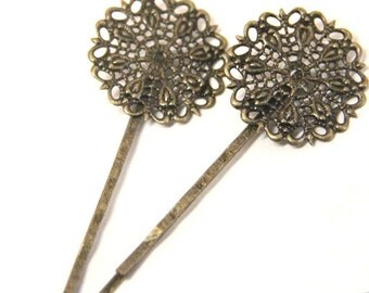 12 Pcs of hair bobby pin with 25mm brass filigree-M6013-Antique bronze