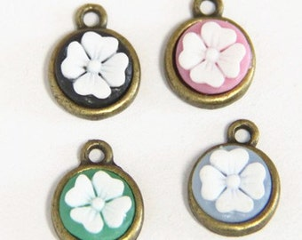 8pcs of 4 colors ofmetal charm fit with resin cameo-1441-mix color