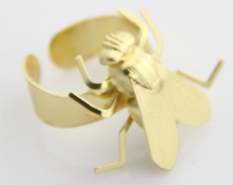 2 pcs of fly ring -brass ring adjustable-4050-mat gold