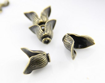 12 pcs of brass two petal flower cup for beads and bottle glass pendant-4915-antique bronze