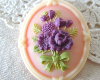 6 pcs of resin cameo with flower bouquet-35x43mm-RC0341-6-soft pink