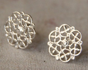 12 pcs/6 pairs of brass filigree eaing post -M4505-sterling  silver
