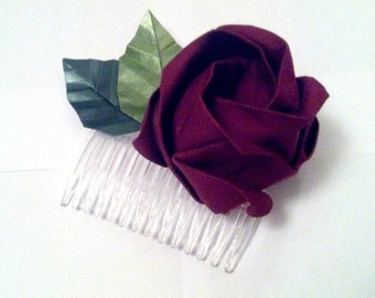 Origami Fabric Red Rose Haircomb