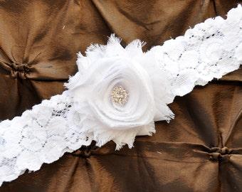 Wedding Garter, Bridal Garter - White Lace Garter, Toss Garter, Shabby Chiffon Rosette White Wedding Garter, White Garter Wedding