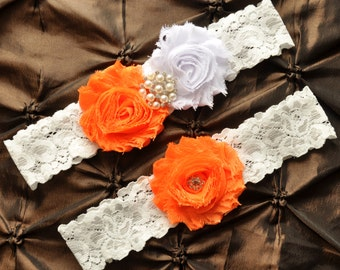 Wedding Garter, Bridal Garter Set - White Lace Garter, Keepsake Garter, Toss Garter, Orange Wedding Garter, White Wedding Garter Belt