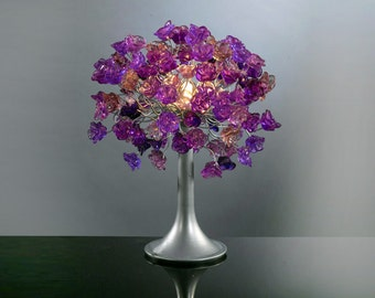 Table lamp with Purple flowers and metal wires, small table lighter, Purple roses lighter beautiful as a wedding present.