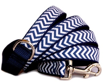 Chevron dog leash Denim navy  fabric cute preppy pet leash boy male dog girl dog. Matching dog collar dog harness are available