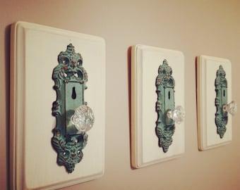 Decorative Antique Door Knob Home Decor Rack Set of Three
