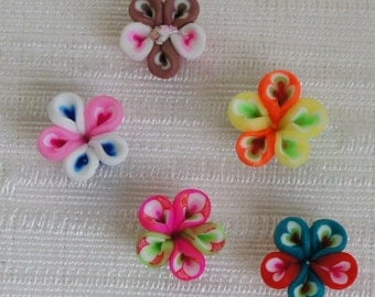 Small Flower Polymer Clay Beads - 5pcs
