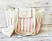 Anchors linen tote / Beige rustic bag / Sailor beach bag / School canvas bag