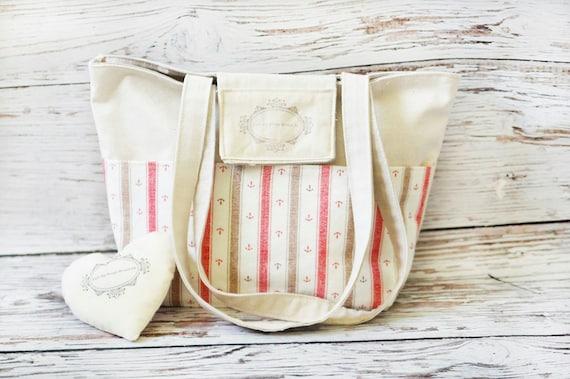 Anchors linen tote / Beige rustic bag / Sailor beach bag / School canvas bag