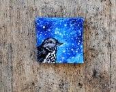 Night Thrush Bird Painting -  Blue.  Indigo.