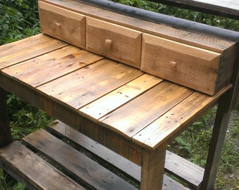 The Barley Planting Potting Bench/Table with Drawers from Recycled, Reclaimed, Salvaged Wood