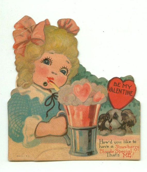 Antique Die-Cut Mechanical Valentine Soda Fountain Strawberry Blonde Special