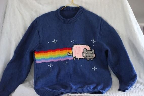 Nyan cat hand knitted sweater - Cat jumper knitting pattern ...