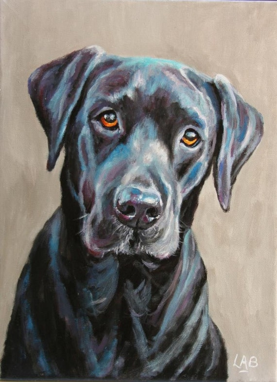 Custom pet portrait on a stretched canvas measuring 16 x 12 for Painting of your dog