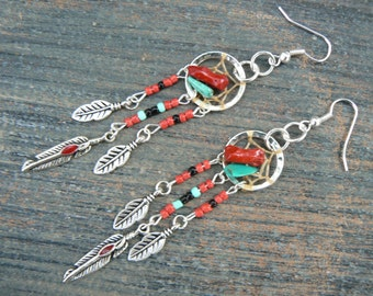 turquoise and coral dreamcatcher earrings turquoise RED in tribal inspired  tribal fusion boho hippie belly dancer and hipster style
