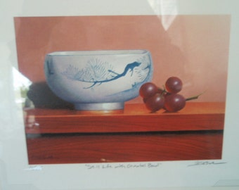 Still Life Print with Oriental Bowl by Patrick Seslar  Limited Edition print Double signed Asian Still life Painting