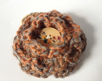 Crochet Flower Brooch, Large Brown Acrylic Flower, Copper Crochet Pin, Hand Crochet Brown Flower with Wooden Button, Crochet Rose Brooch Pin