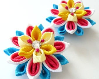 Kanzashi  Fabric Flowers. Set of 2 hair clips. Pink, white, yellow and turquoise.