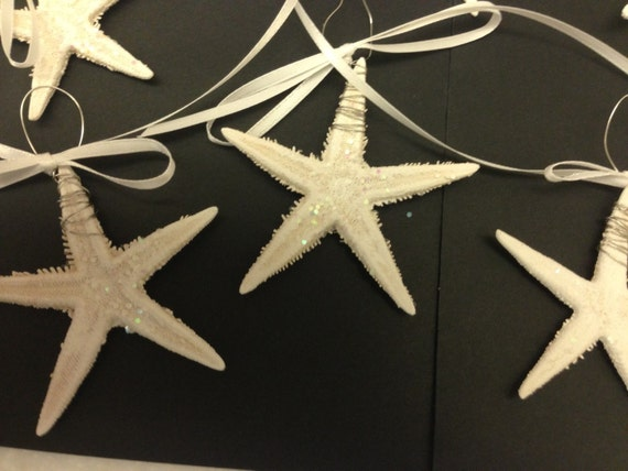 8 Actual Mini Starfish. Painted White with a touch of Glitter, wire wrapped and an addition of Ribbon.