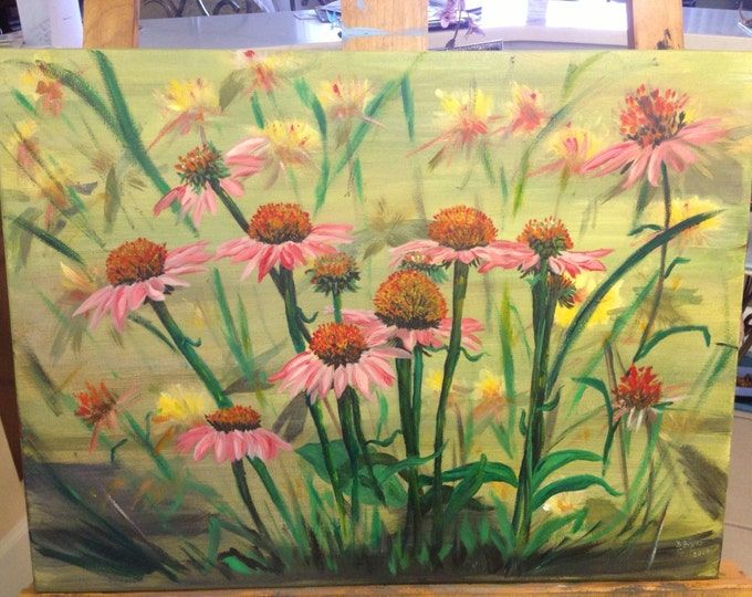 Field of Coneflowers - Background painted in Acrylics, Foreground in Oils