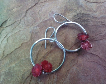 SALE....Sterling Silver Hoops with Red Coral Flowers