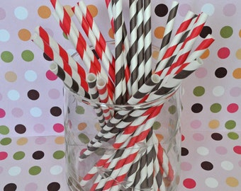 Red and Brown Cowboy Striped Paper Straws Party Straws and Coordinating DIY Straw Flag PDF