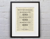 3 Ways To Ultimate Success - Be Kind, Be Kind, Be Kind / Mr. Rogers - Inspirational Quote Dictionary Page Book Art Print - DPQU017