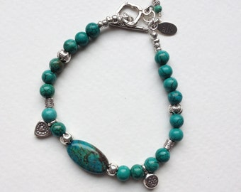 Jasper Nugget, Turquoise, and Hill Tribe Sterling Silver Bracelet