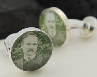Irish Cuff Links / Cufflinks for Men - Upcycled Vintage Irish Stamp Cufflinks  (Cuff Links) -  James Connolly - Keepsake