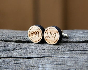 Personalized Wood Cufflinks - Handmade Rustic Oak Round