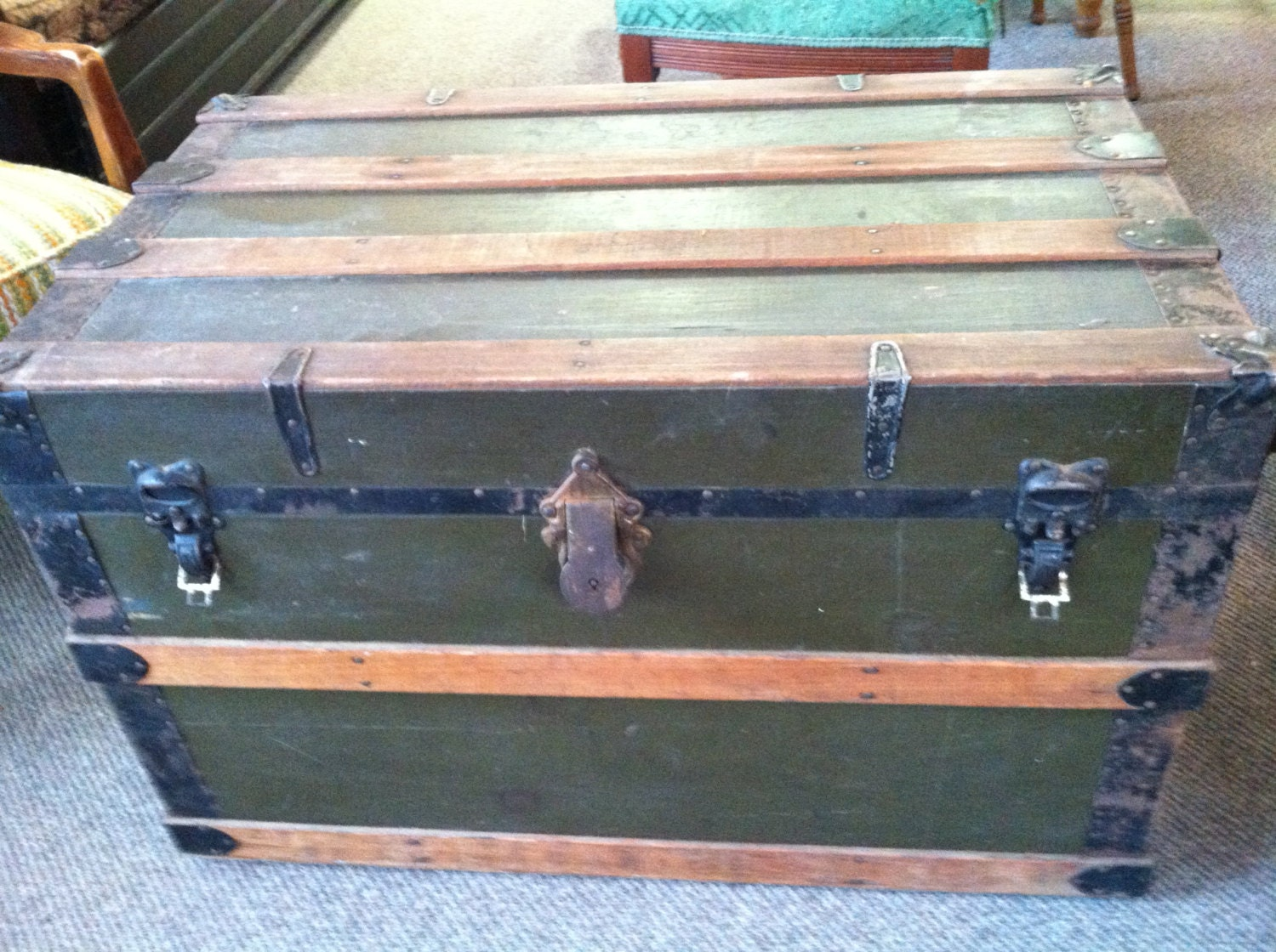 Antique Steamer Trunk With Brass Eagle Lock Co Lock Sale