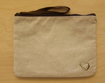 Natural Canvas Pouch Clutch/ Pencil Pouch Clutch/ Cosmetic Bag,  Ivory and Black