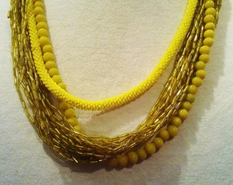 Vintage Yellow multi strand necklace