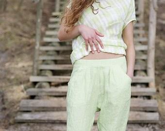 Linen pants, light green blue gray green capri pants eco friendly creased linen, handmade to order