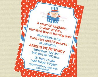 Printable Patriotic Boy Birthday Invitation