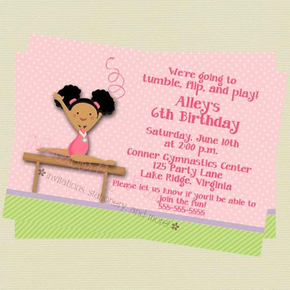 Gymnastic Party Invites for nice invitation layout