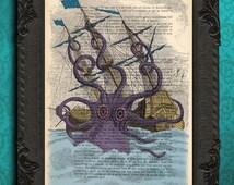 Giant Squid Attacks Pirate Ship Nautical Art Print Illustration