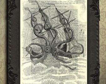 kraken, kraken print, sea monster, sea monster print, art print, housewares, home decor, kraken dictionary art print