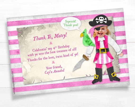girl pirate thank you card note kidhappycatprintables