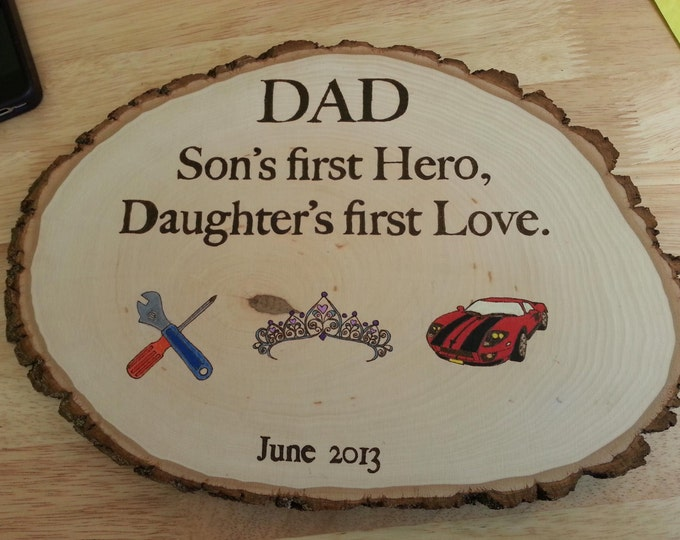 "Personalized woodburned ""Dad"" plaque. Made to Order"