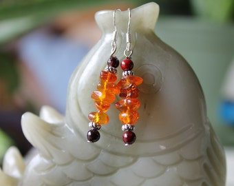 Natural Amber Earrings, sterling silver hook