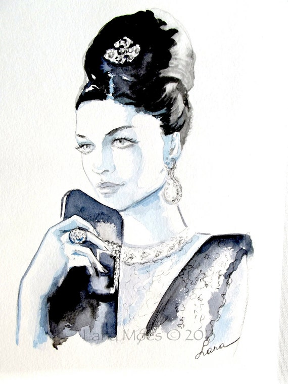 Chanel Vintage Inspired Original Watercolor - Fashion Illustration by Lana Moes