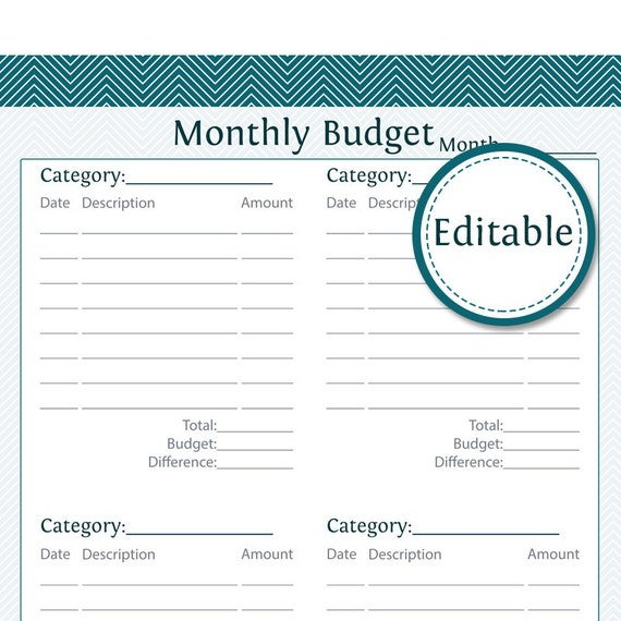 monthly budget editable instant download printable pdf monthly budget ...