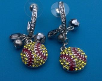 Rhinestone Dangle Charms Softball Earrings