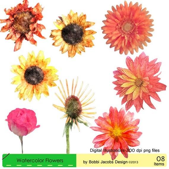 Clip Art Dahlia Flowers