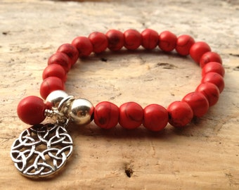 Red stretch bracelet beaded friendship charm Yoga bracelet perfect for Stacking